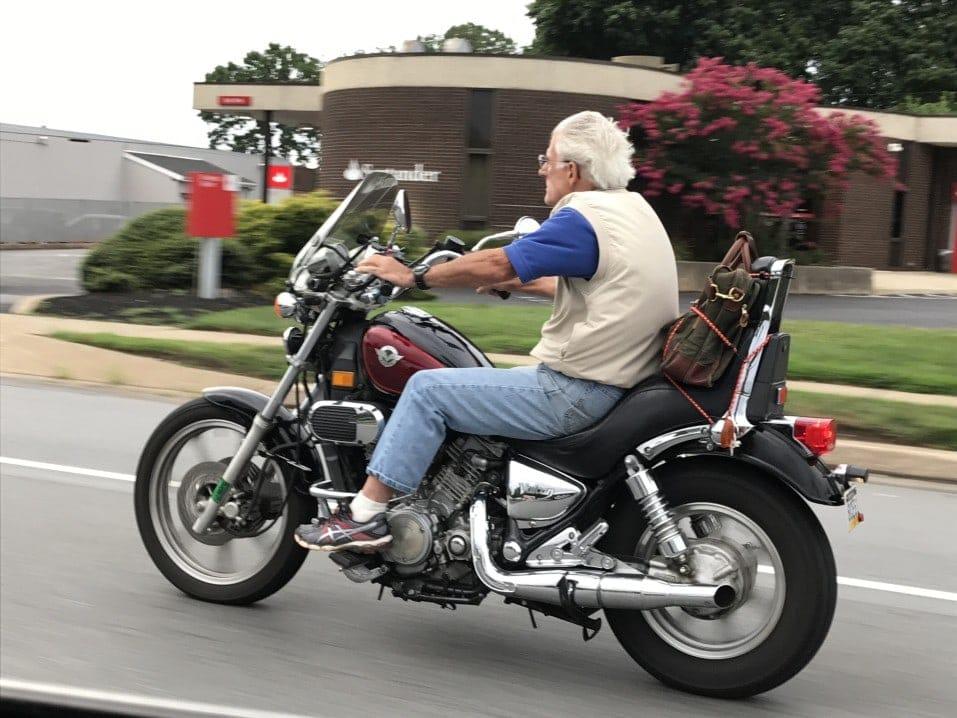 wind in his hair motorycle rider