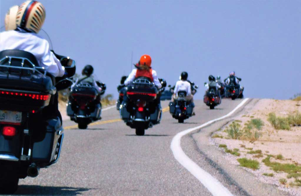 motorcycle bikers on a road trip