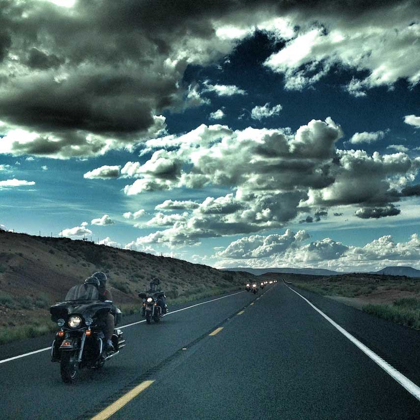 harley motorcycles with windshields open road